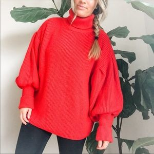 TopShop Bright Red Balloon Sleeve Highneck Sweater